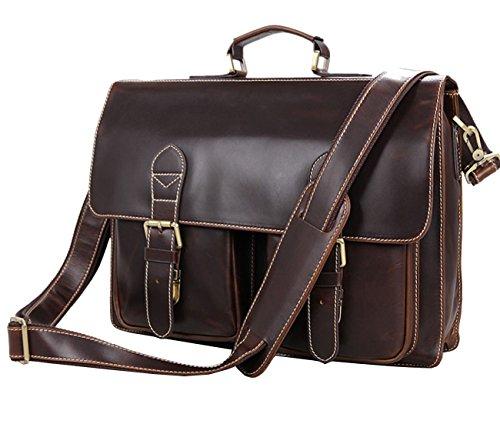 Berchirly Men Genuine Leather Laptop Briefcase Messenger Bag Fit 15 Inch Laptop