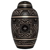 urns for adults - Black Gold Funeral Urn by Liliane Memorials - Cremation Urn for Human Ashes - Hand Made in Brass - Suitable for Cemetery Burial or Niche - Large Size fits remains of Adults up to 200 lbs - Rings Large