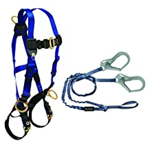 FallTech CMB1859Y3L Combo Kit - 7018 Harness, 8259Y3L Looped Lanyard, Blue/Black