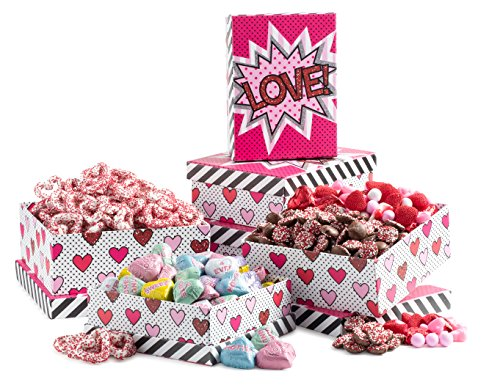 Happy Mothers Day Gourmet Love 3 Tier Tower Filled with Luxurious Chocolates & Candies to Show Your Affection - Gorgeous Gift Box Arrangement with a Hand-Tied Bow - An Elegant Gift for Your Loved (Candy Treat Ideas)