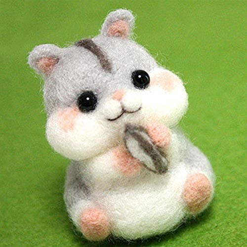 JULUJ 1Set Non Finished Wool Felt Handmade Poked DIY Dog Hamster for Needle Material Bag Poked Set Handmade DIY Funny Toy Gifts - Hamster