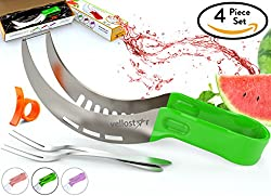 WATERMELON SLICER CORER CUTTER TONGS and SERVER SET With SS304 Serving Fork & Orange Peeler Kitchen-Grade 304 Stainless Steel Ergonomic Handle Watermelon Knife Mom Gift Green