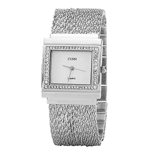 Ladies Square Crystal Bracelet Dress Wrist Watch for Women - Female Silver ()