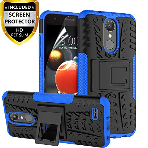 RioGree for LG Aristo 2 Case, for LG Aristo 2 Plus/Zone 4 /Tribute Dynasty/Phoenix 4/Fortune 2/Rebel 4 LTE/Risio 3/K8 2018/ K8+/K8 Plus Phone Case, with Screen Protector Kickstand Cover Skin, Blue from RioGree