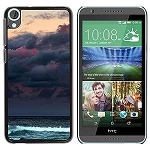 For HTC Desire 820 Case , Clouds Sea Ocean Waves Moon - Diseño Patrón Teléfono Caso Cubierta Case Bumper Duro Protección Case Cover Funda
