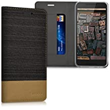 kwmobile Flip Cover Case for LG Google Nexus 5X - Protection case Cover Bookstyle made of synthetic leather and fabric in anthracite brown