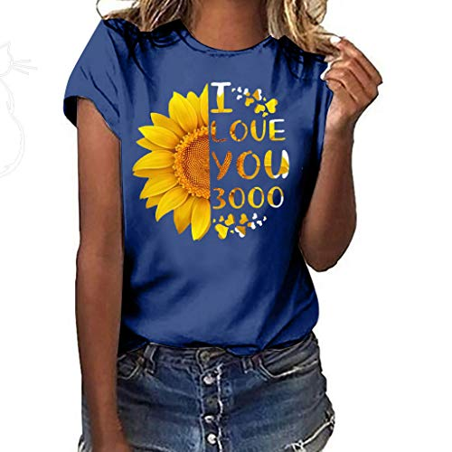 Sunflower Print Clothes Women,LYN Star❀ Summer Short Sleeve Loose Casual O-Neck Floral T-Shirt Tops I Like You 3000 -