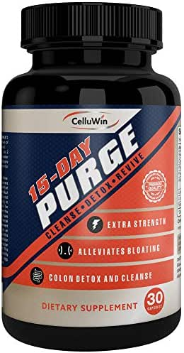 CelluWin Rapid Colon Cleanse Detox **Purge Up to 10 lbs of Waste Build Up** Max Strength & Natural - 15 Days - Constipation, Gas & Bloating Relief - Revive Energy - Enhanced Absorption - 30 Capsules