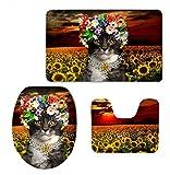 Homespun Set Of 3 Piece Cat With Sun Flower Multi Color Pedestal Rug + Lid Toilet Cover + Bath Mat Set Soft Comfortable Household Bathroom Carpets Decor Gift