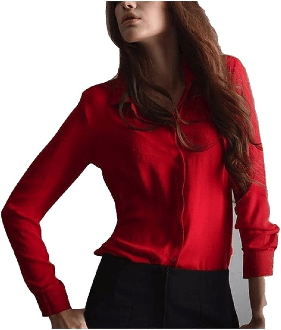 Oudan Camisa de Manga Larga para Mujer Chifón de Fluido Casual Elegante Blusa clásica (Color : Rojo, tamaño : S): Amazon.es: Ropa y accesorios