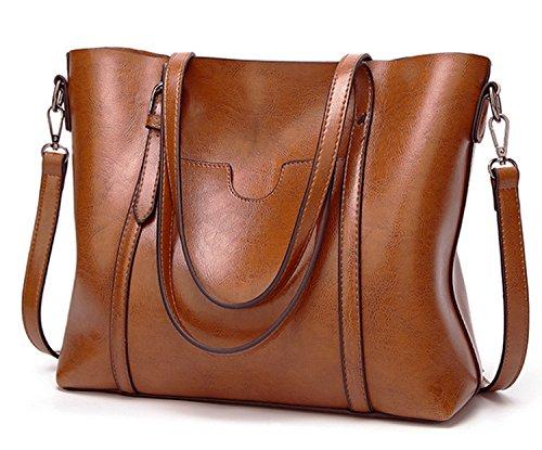 fodera Tote Multifunzione Capacità Sacchetto ECOTISH delle donne Damero del del Grande con Vintage spalla rimovibile sacchetto Marrone Oqg8xvO