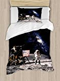 Ambesonne Galaxy Duvet Cover Set Twin Size, Astronaut on Rocky Surface of Moon American Flag USA Rocket Traveling Space Art, Decorative 2 Piece Bedding Set with 1 Pillow Sham, Grey Navy Blue