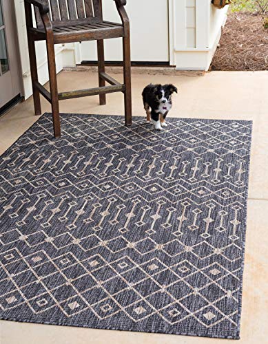 Transitional Outdoor Rug - Unique Loom Outdoor Trellis Collection Tribal Geometric Transitional Indoor and Outdoor Flatweave Charcoal Gray   Area Rug (7' 0 x 10' 0)