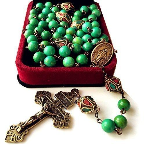 elegantmedical Handmade Tibet Beads & Turquoise Bead Catholic Rosary Bronze Cross Necklace Gift Box