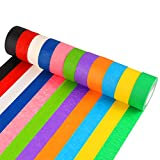 Atrigger 12 Pieces Colored Masking Tape, 1 Inch Rainbow Labelling Tape Graphic Art Tape Roll for Art Crafts DIY Supplies, 12 Colors
