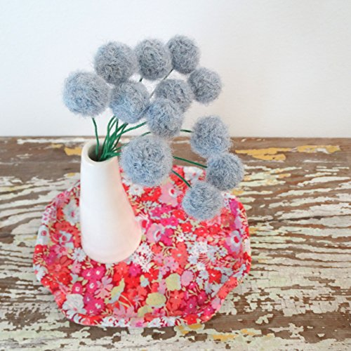 Felt pom pom flowers. Alpaca Wool pompoms. Chambray, denim blue Flowers. Faux, fake flowers. Boy Nursery decor. Round Blue Craspedia.