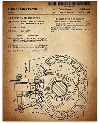 Wankel Rotary Engine - 11 x 14 Unframed Patent Print - Great Gift for the Mazda, RX-8, Drifitng, or Auto -