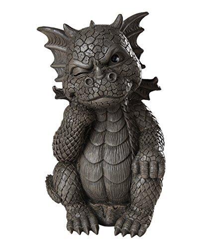 Garden Dragon Thinker Dragon Garden Display Decorative Accent Sculpture Stone Finish 10 Inch Tall