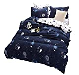 Emoji Bed Sheets Full Size STFLY Space and Satellites Bedding For Kids Boys Girls Bedding Sets Super Soft Bed Sheet Set Microfiber 3PCS Bed Sheets Sets (Satellites in space, Twin)