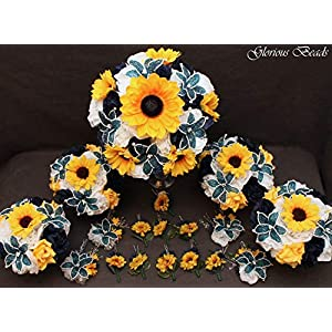 Navy Blue BEADED LILY and Yellow Sunflower Bridal Bouquets Wedding Flower 18 piece package with Roses~ with Corsages and Boutonnieres. Unique French beaded flowers. 45
