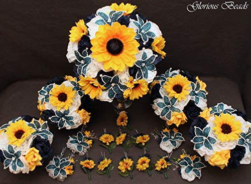 - Navy Blue BEADED LILY and Yellow Sunflower Bridal Bouquets Wedding Flower 18 piece package with Roses~ with Corsages and Boutonnieres. Unique French beaded flowers.