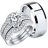 (US) Mabella Couples Rings Her Halo CZ Sterling Silver Engagement Wedding Ring Sets His Stainless Steel Bands