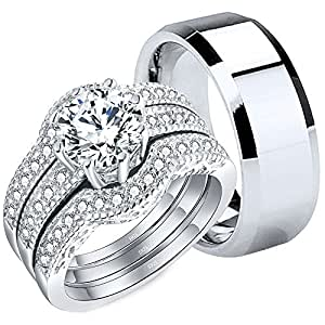 Amazon.com: MABELLA Couples Rings Her Halo CZ Sterling