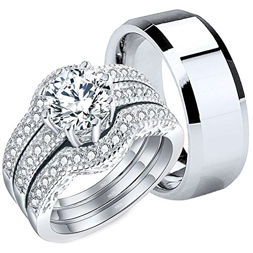 - MABELLA Couples Rings Her Halo CZ Sterling Silver Engagement Wedding Ring Sets His Stainless Steel Bands