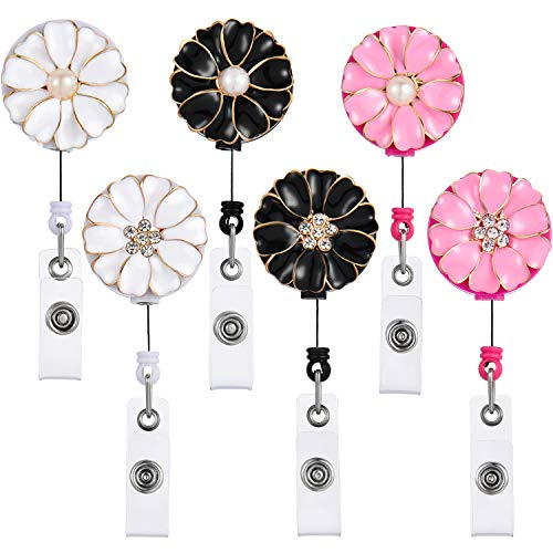 (Tatuo 6 Pieces Retractable Badge Reels Badge Holder Flower ID Badge Reel with Alligator Swivel Clip for Nurse Teacher Women Girls, 2 Styles and 3 Colors)