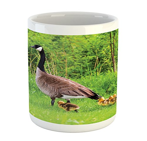 Geese Mug by Lunarable, Canadian Goose and Chicks in Grass Spring Summer Wildlife Nature Scenic Picture, Printed Ceramic Coffee Mug Water Tea Drinks Cup, Green Brown