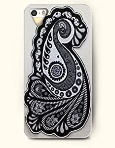 OOFIT Apple iPhone 4 4S Case Paisley Pattern ( Black and White Buteh Leaves )