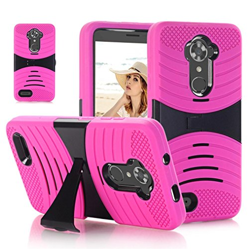 Voberry Bling Hard Soft Rubber Impact Armor Case Back Hybrid Cover For ZTE ZMAX Pro/Carry Z981/Blade X Max Phone (Hot Pink)