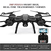 3MP WIFI RC Drone Quadcopter with Camera HD Headless 2.4G 6-Axis Real Time RC Helicopter Quadcopter (Black with camera)