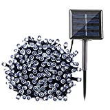 Qedertek Solar String Lights, 72ft 200 LED Fairy Christmas Lights, 8 Modes Ambiance Lighting for Outdoor, Patio, Lawn, Landscape, Garden, Home, Wedding (Cool White)