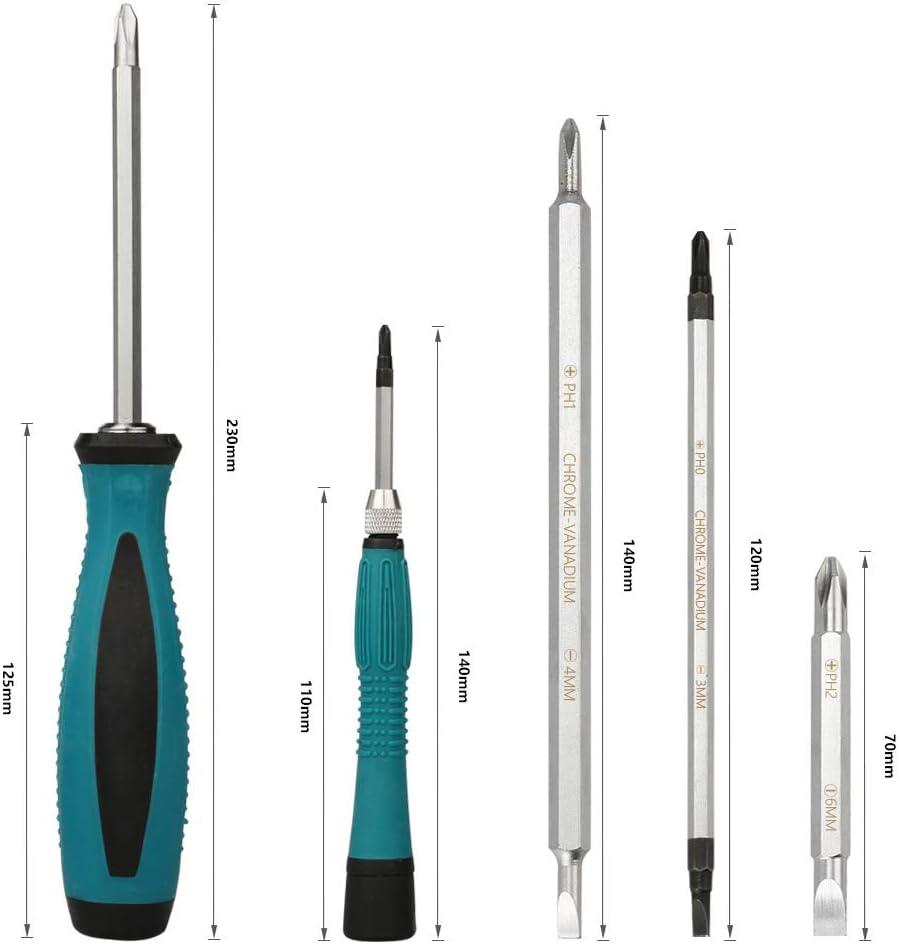 Ainstsk 10/en 1/Jeu de tournevis durable Long Bit magn/étique Jeu de tournevis avec poign/ée Soft-Grip Home Hardware outils de r/éparation kit Multi-bit pour moyenne et petite machine Maintenance