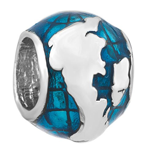 LovelyJewelry Blue Ocean Earth Charms UK Map Peace Beads For Bracelets