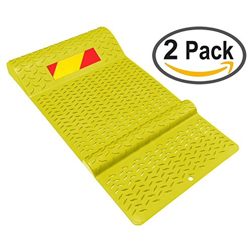Electriduct Pair of Plastic Park Right Parking Mat Guides for Garage Vehicles, Antiskid Car Safety - Yellow by Electriduct