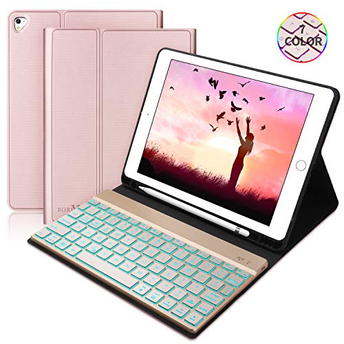 BORIYUAN Keyboard Case for iPad 9.7 2018(6th Gen)/iPad 9.7 2017(5th Gen)/iPad Air 2&1/iPad Pro 9.7-7 Colors Backlit Detachable Keyboard Slim Leather Folio Cover with Built-in Pencil Holder(Rosegold)