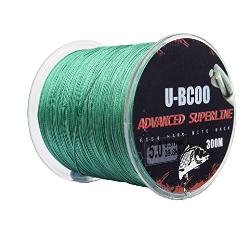 Cheap U-BCOO Wear Braided Wire – Super Braided Fishing Line – Incredible Super Line – Zero Stretch (Moss green, X4/2.0#/0.23mm/19.5kg/546yads)
