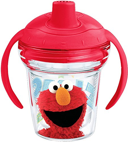 Tervis 1242377 Sesame Street - Elmo Insulated Tumbler with Wrap and Fire Engine Red Lid 6 oz My First Sippy Cup, Clear