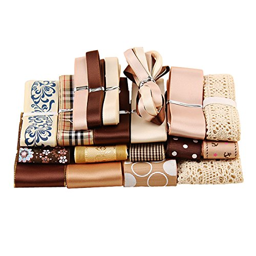 Candygirl Lace Ribbon Kits for Hair Barrettes, Floral, Birthday Party, School DIY (Coffee)