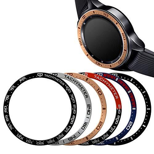 Glaxy Watch 42mm & Gear Sports Aluminium Bezel Ring, Bezel Cover (5type Desgin) Scratch&Product Protection Effect, Special Design Changes New Galaxy Watch&Gear Sports (Rosegold)