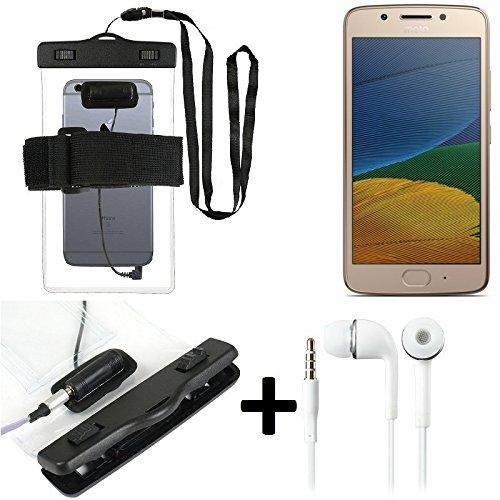 Estuche estanco al agua con entrada de auriculares para Lenovo Moto G5 Plus + auricular incluido, transparente   Trotar bolsa de playa al aire libre caja brazalete del teléfono caso de cáscara bajo pl