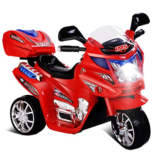 Globe House Products GHP Kids 55-Lbs Capacity 3 Km/Hr Speed Red 3-Wheeled Plastic Ride On Motorcycle ()