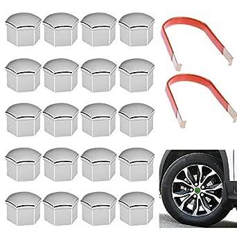 20 x Silver Plastic Alloy Wheel Nuts Caps Bolts Tool 17mm FOR FIAT ALFA ROMEO