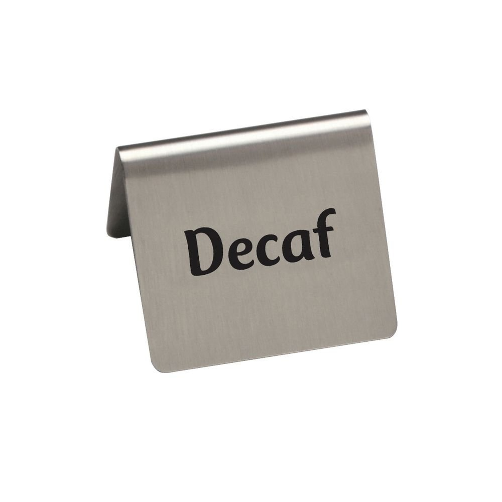 HUBERT Decaf BeverageTent Sign Stainless Steel - 2 1/2 W x 2'' D x 2 3/16 H