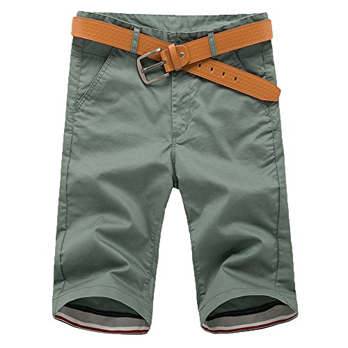 QueenMM Men's Straight-Leg Casual Cargo Shorts with Pockrts Summer Fitness Breathable Running Pants Mint Green