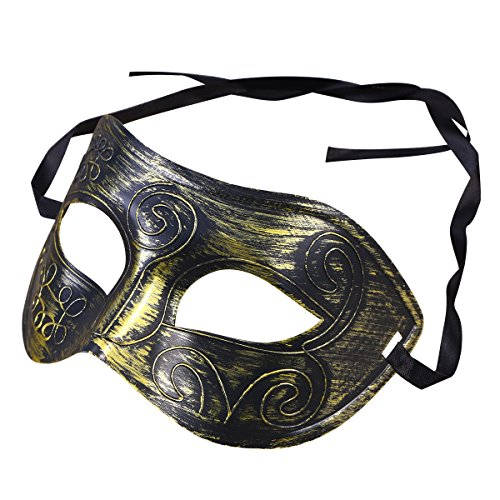 BESTOYARD Halloween Decoration Half Face Mask Engraving Masquerade Party Mask Party Favors Dress Up Costume for Men (Bronze)