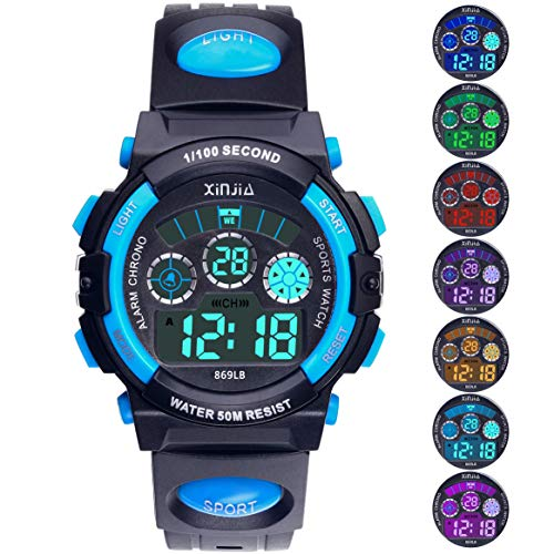 Price comparison product image Kids Digital Watch,  Boys Girls 50M(5ATM) Waterproof 7 Colors LED Multifunctional Sports Outdoor Wrist Watches with Alarm for Children(Black-Blue)