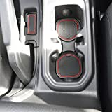 #9: Custom Fit Cup, and Radio Pocket Liner Accessories for JL JLU Jeep Wrangler 2018 2019 13-pc set (FITS SPORTS AND RUBICON WITH CLOTH SEATS ONLY!, Red Trim)